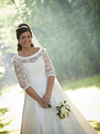 Our bride Patricia in a Bespoke Sassi Holford