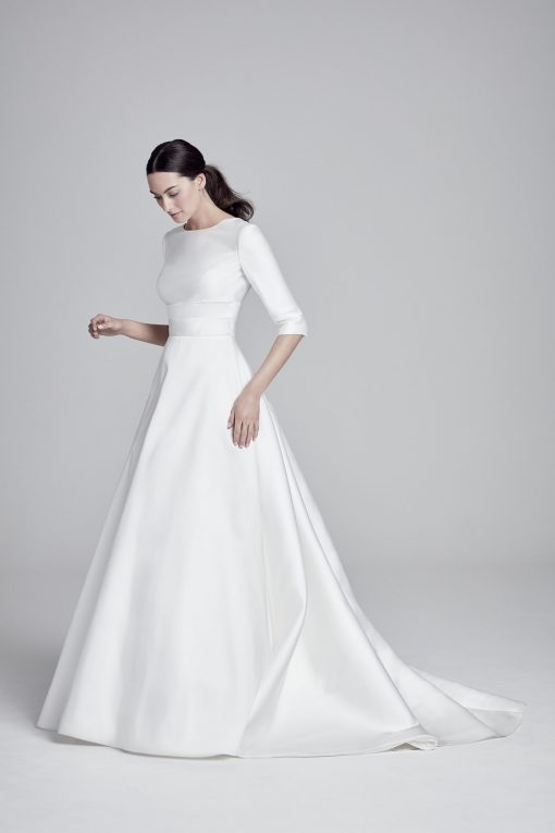 bride wearing suzanne neville 2019 collection wedding dress