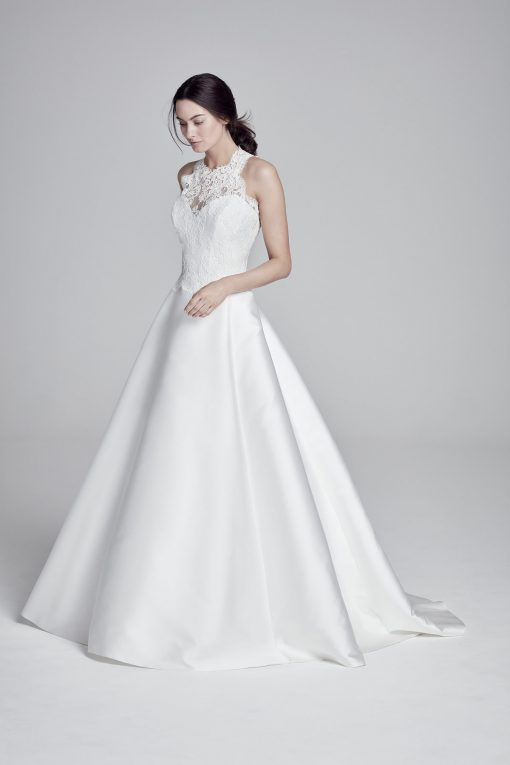 bride wearing Mandalay wedding dress by Suzanne Neville by Ellie Sanderson