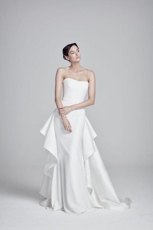 bride wearing Mira wedding dress bu Suzanne Neville