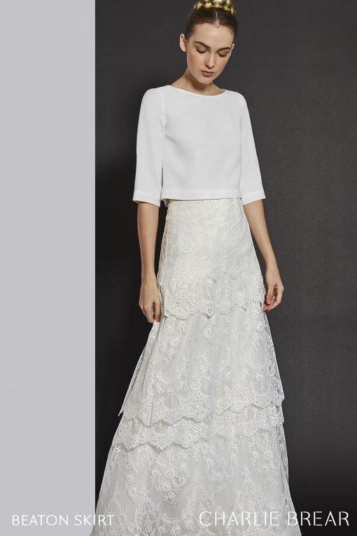 bride wearing charlie brear beaton skirt