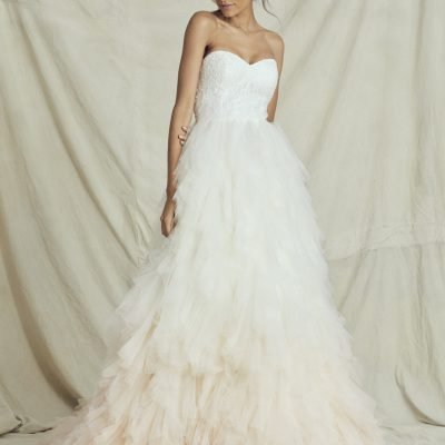bride in kelly faetatini wedding dress