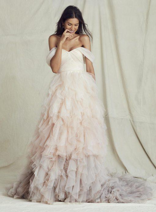 BRIDE WEARING DESIGNER WEDDING DRESS