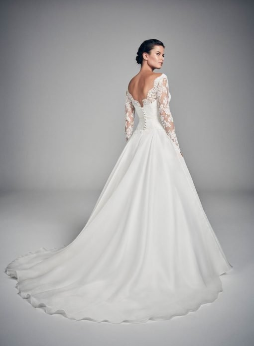 back view of bride in a wedding dress